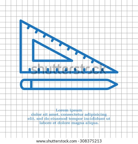 Pencil and ruler line icon - stock vector