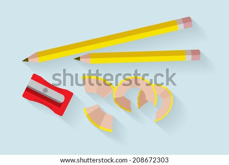 pencil and sharpener vector/illustration - stock vector
