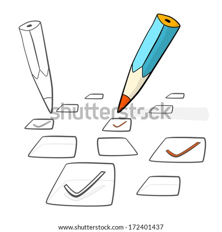 Pencil Check Option Isolated on White Background - stock vector