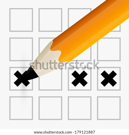 Pencil Check Option - Orange Pencil Filling the Form - stock vector