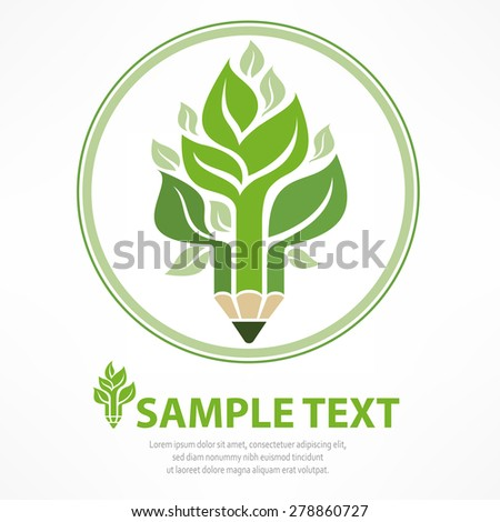 Pencil combined with tree in round on white, vector illustration - stock vector