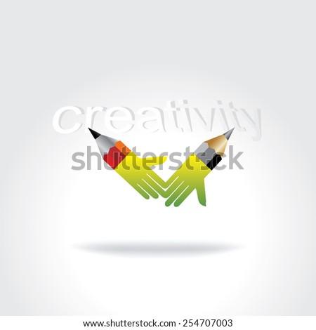 pencil creative art as a hand creativity concept - stock vector