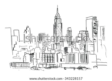 Pencil drawing of a landscape with set of skyscrapers in New York - in vector - stock vector
