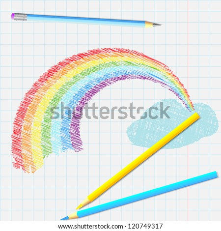 Pencil drawing of a rainbow on the notebook sheet - stock vector
