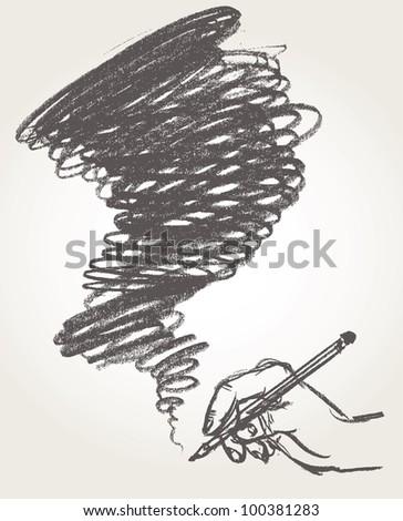 Pencil drawing. Vector illustration. - stock vector