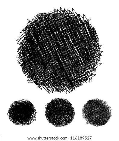 Pencil drawn circles bubbles. Vector illustration - stock vector