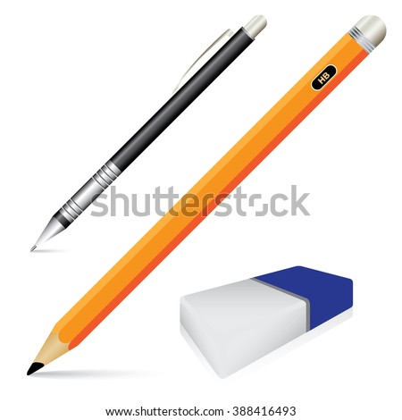 Pencil eraser and pen isolated on white background. Vector object tool for office and school. - stock vector