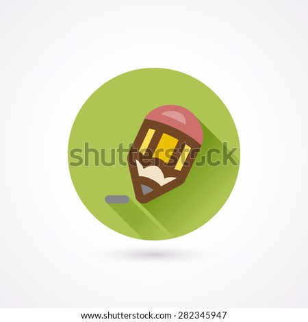 Pencil flat icon in a circle with long shadow - stock vector