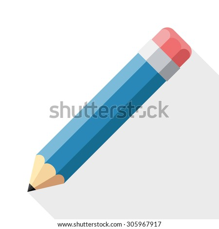 Pencil flat icon with long shadow on white background - stock vector