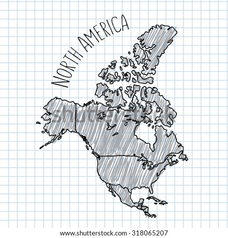 Pencil hand drawn North America map vector on paper illustration - stock vector