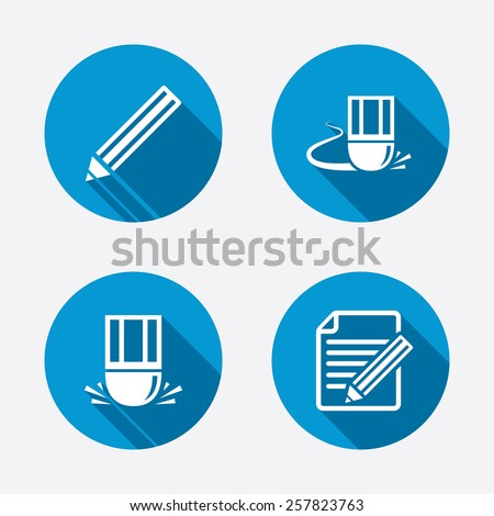 Pencil icon. Edit document file. Eraser sign. Correct drawing symbol. Circle concept web buttons. Vector - stock vector
