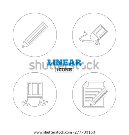 Pencil icon. Edit document file. Eraser sign. Correct drawing symbol. Linear outline web icons. Vector - stock vector