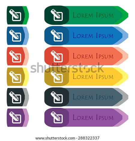 pencil icon sign. Set of colorful, bright long buttons with additional small modules. Flat design. Vector - stock vector
