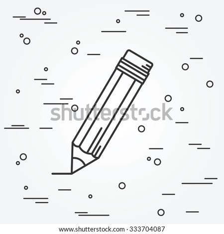 Pencil Icon thin line for web and mobile, modern minimalistic flat design. Vector dark grey icon on light grey background. - stock vector