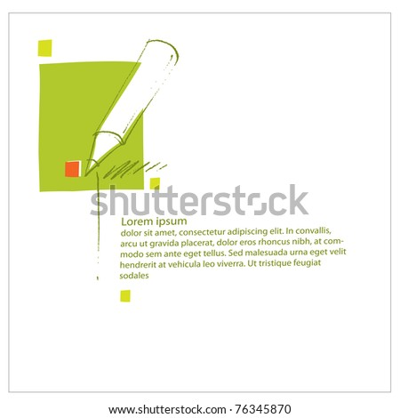Pencil icon, universal pre-made page layout, simple design (blank text, vector) - stock vector