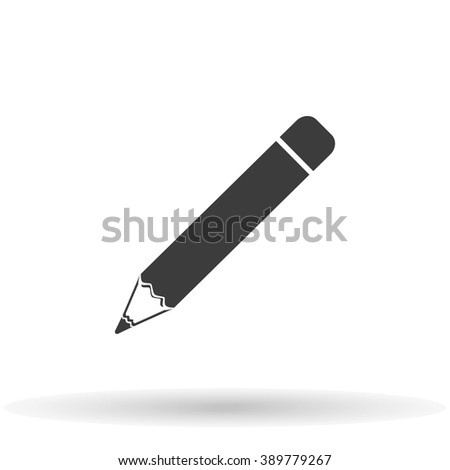 Pencil icon with shadow isolated on a white background, vector stylish illustration for web design - stock vector