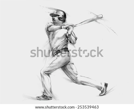 Pencil illustration, hand graphics - Baseball Player - stock vector