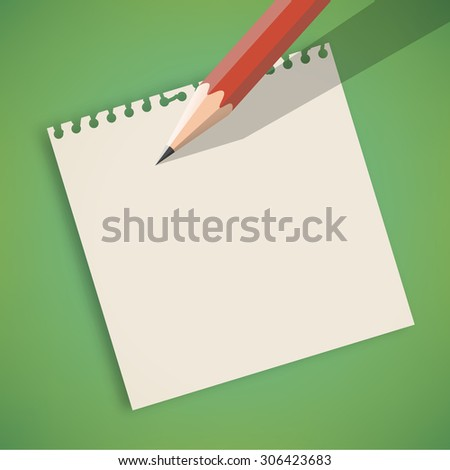 Pencil on Note Paper with Green Background Vector - stock vector