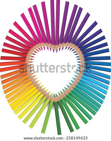 pencil rainbow heart - stock vector