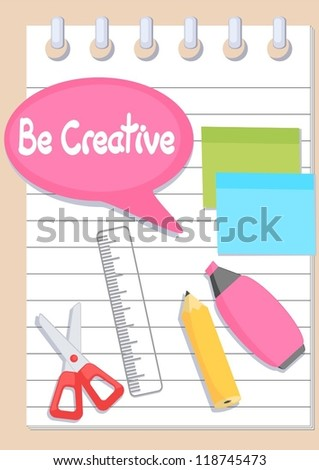 pencil, scissors, ruler and stickers on notebook - stock vector