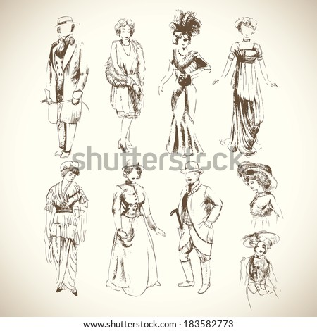Pencil sketch set of vintage fashion clothes of 1920-1930 years - stock vector