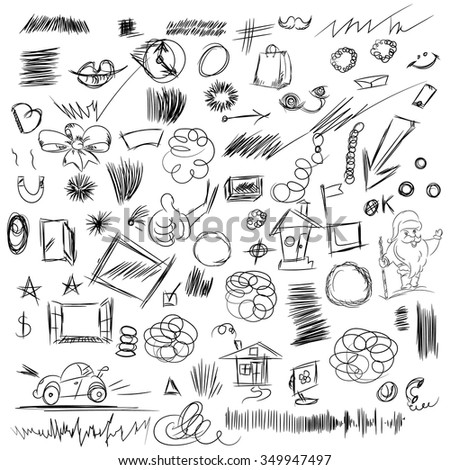 Pencil sketches.Hand drawn scribble shapes, santa claus, package and other things. A set of doodle line drawings. Vector design elements - stock vector