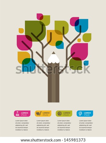 pencil tree, education theme infographic, data, icons and graphic elements - stock vector