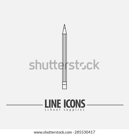 Pencil Vector line - stock vector