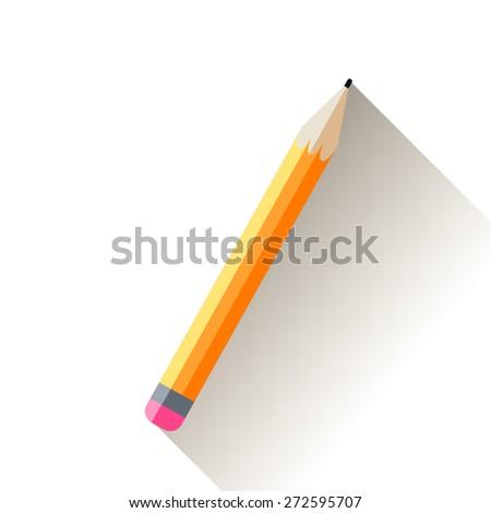 Pencil. Vector yellow flat illustration - stock vector