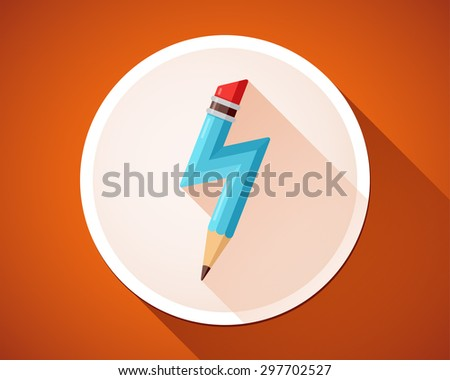 Pencil with lightning. Birth of idea. Vector icon. - stock vector