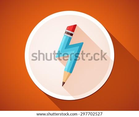 Pencil with lightning. Birth of idea. Vector icon. - stock vector
