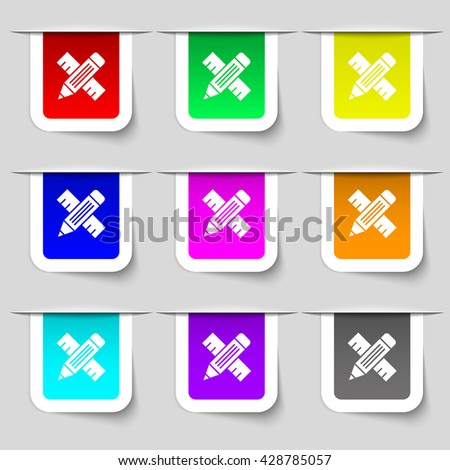 Pencil with ruler icon sign. Set of multicolored modern labels for your design. Vector illustration - stock vector