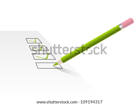 Pencil writes check mark on the form - stock vector