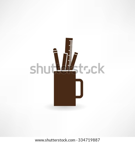 pencils and pens in a cup icon - stock vector