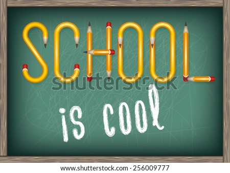 pencils over a school board forming the word school - stock vector