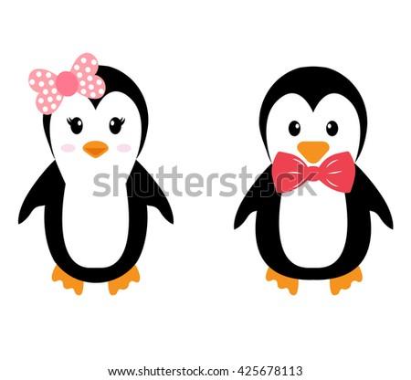 penguin girl and boy - stock vector