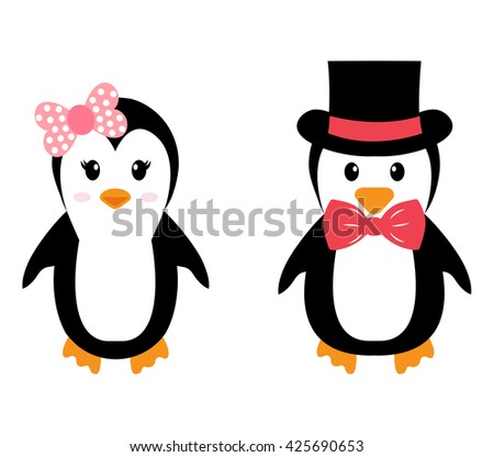 penguin girl and boy with hat - stock vector