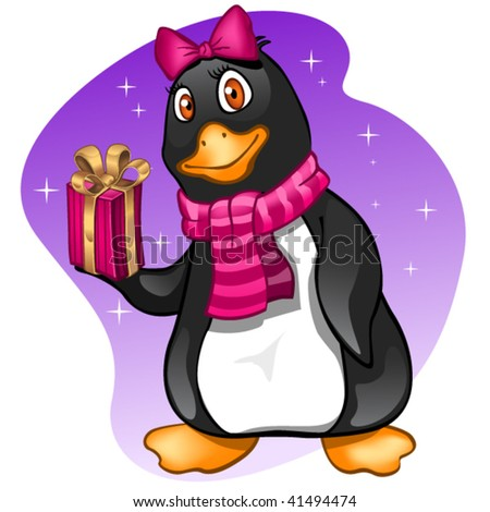 Penguin girl with present - stock vector
