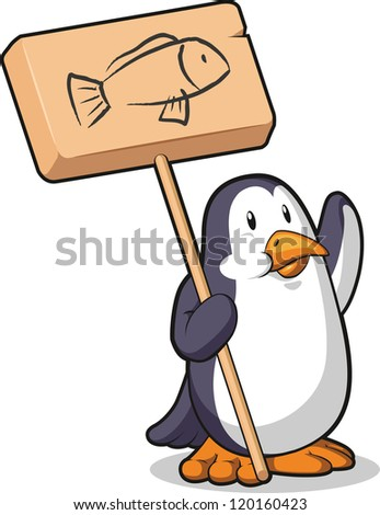 Penguin Holding a Wooden Sign - stock vector