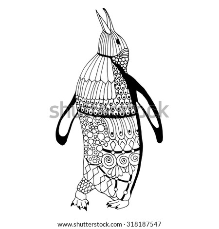 Penguin illustration - isolated penguin illustration with stylized decoration - stock vector