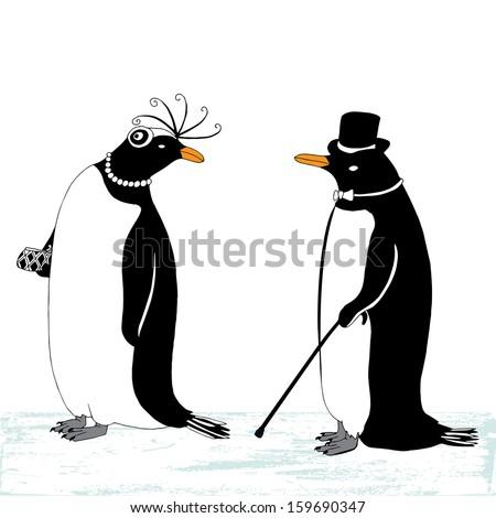 Penguin pair on ice - stock vector