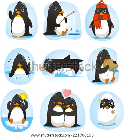 Penguin set vector illustration, with penguins in different situations like dancing, fishing, winter, swimming, eating, in love collection. - stock vector