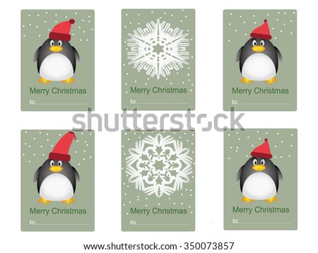Penguins and snowflakes on congratulation or invitation card - stock vector