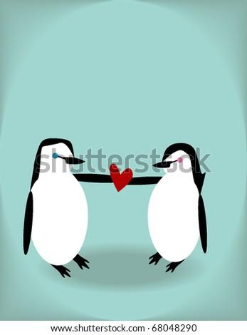 penguins in love sweet vector graphic eps10 - stock vector