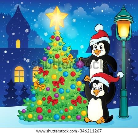 Penguins near Christmas tree theme 3 - eps10 vector illustration. - stock vector