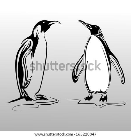 Penguins vector - stock vector