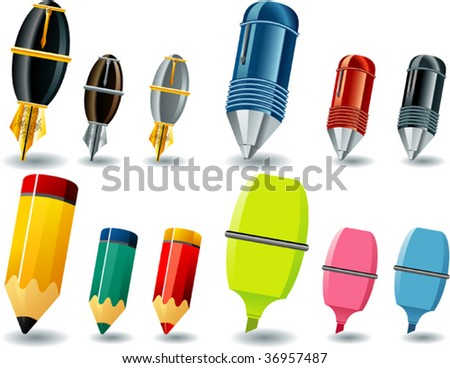pens - stock vector