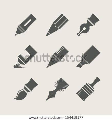 Pens and brushes for drawing. Set of simple icons. Vector illustration. - stock vector