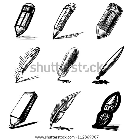 Pens and pencils collection .Hand drawing sketch vector set - stock vector