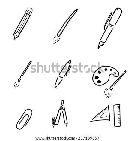 Pens pencil stationery drawing icons set - stock vector